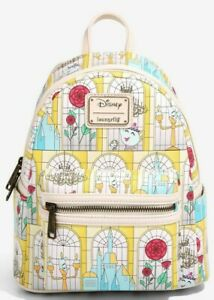 Loungefly Disney Beauty and the Beast Stained Glass Windows Mini Backpack