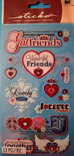 NEW 13 pc BEST GIRLFRIENDS Forever Friends Lovely Ladies Hearts  STICKO Stickers