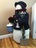 **LARGE Winter Fleece SNOWMAN Fireplace Entrance Greeter w/Bucket of Snowballs!
