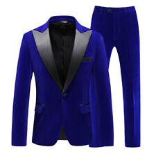 Blue Men Velvet Suit Prom Party Business Peak Lapel Groom Tuxedo Wedding Suit