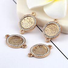 Gold Beads Connector Round Tree Rhinestones DIY Bracelet Findings 15*15mm 10pcs