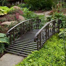 Weathered Black Finish Metal 6 Foot Garden Bridge Outdoor Yard Lawn Landscaping