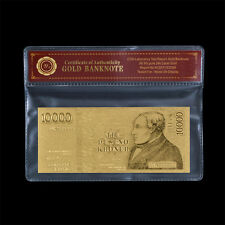Wr Gift Iceland Gold Banknote 10,000 10000 Kronur Gold Foil Bill In Free Sleeve
