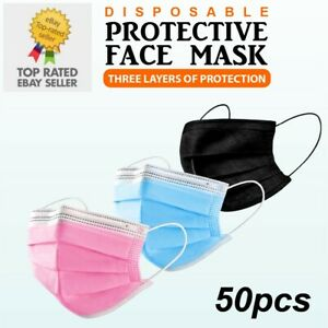 BLACK PINK DISPOSABLE FACE MASKS GENUINE MASK MEDICAL SURGICAL (3 PLY NOT 2 PLY)