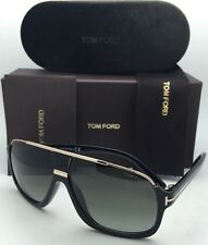 New TOM FORD Sunglasses ELIOTT TF 335 01P 60-10 Black & Gold Frames w/Green Fade