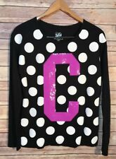 Justice Junior Sz 16 18 C Letter Black White Polka Dots Top Sequins Small NWT
