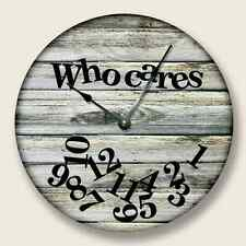 """10.5"""" WHO CARES Wall Clock Beach Sand Tan Boards Pattern Home Decor - 7121_FTLLC"""
