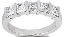 5 Princess cut Diamond Ring 14k Gold Wedding Band 1.37 carat F-G, VS clarity
