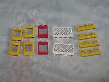 Lego Lot 12 Windows, Fence - Yellow, Red, White - Lattice City Fence