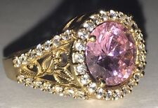 Ring VINTAGE 14k yellow solid real gold manmade Pink Topaz Diamond Size 8 679 10