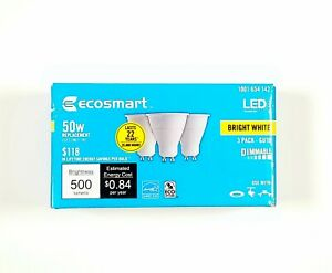 New Ecosmart 1001654142 50W 3-pack GU10 Bright White Light Bulbs