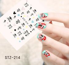 NAIL Art Water Trasferimenti Adesivi decalcomanie Mickey Minnie Mouse fiocchi cuore (stz214)