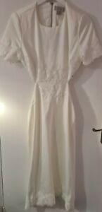 Womens Ivory Cut Out Lace Coast Bridal Midi Dress Size 10