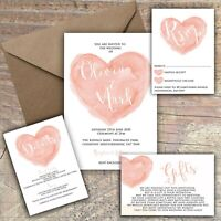 Personalised Luxury Rustic Wedding Invitations PEACH HEART packs of 10