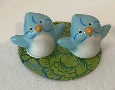 Mini Whimsical Bluebird Bird Salt and Pepper Shaker Set Ceramic Grasslands Road
