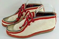 New listing Vintage Womens Pony Hair Booties Shoes White Embroidered Ethnic West Germany 41
