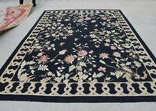 8' X 10' Vintage Floral Black Color Aubusson Country Rug Handmade Flat Weave