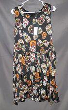 t12 Iska Dress Multi Color CANDY SKULL Black FIT & FLARE US 10 UK 14