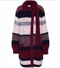 NEW £1600 AW17 CHLOE LONG STRIPED WOOL MOHAIR MULTI-COLOURED CARDIGAN COAT XS