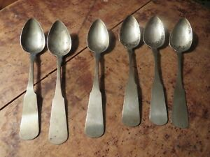 6 E. H. NUTTER coin silver spoons Dover NH 19TH c