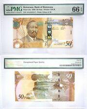 PMG Botswana 50 Pula 2009 UNC Banknote 66 EPQ SN:AA1525217 Pick # 32a