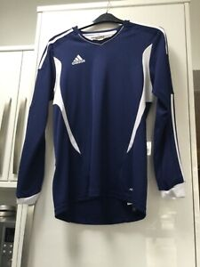 MENS ADIDAS TOP SIZE MEDIUM LONG SLEEVED V-Neck CLIMA COOL TOP NAVY & WHITE