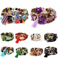 Bohemian Natural Stone Three Layers Beads Bracelet Tassel Jewelry Lucky Present