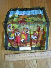 Vtg Fisba Stoffels Hankerchief Hankie Dancers Traditional Dress Swiss Hackbrett