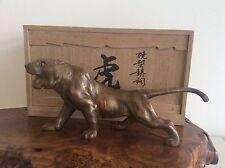 Japanese Vintage Bronze TIGER Statue / 金田義蔵 / W 32 ×  D 11 × H 14.5cm 2.24kg