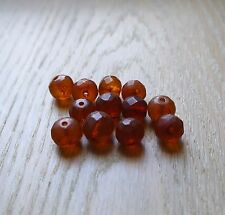 10 Gram Cognac Vintage Natural Baltic Faceted Amber Loose with holes 12 beads