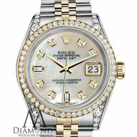Women's Rolex 31mm Datejust 2 Tone White MOP Mother Of Pearl 8+2 Diamond Dial