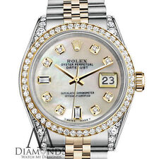 Woman's Rolex 31mm Datejust 2-Tone White MOP Mother Of Pearl 8 + 2 Diamond Dial