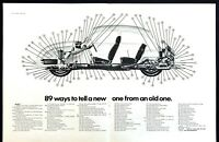 """1971 Volkswagen Beetle Diagram """"89 Ways to Tell New VW from Old"""" 2-page print ad"""