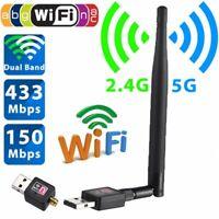 Wireless USB 150Mbps WiFi Network Card LAN Adapter Dongle Laptop PC+ Antenna
