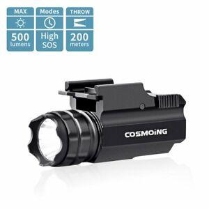 500 Lumens Compact Tactical Pistol Weapon Light Rifle Rail Gun LED Flashlight