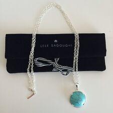 "LELE SADOUGHI Half-Moon Turquoise Pendant Silver 32"" Long Necklace NEW! $110"