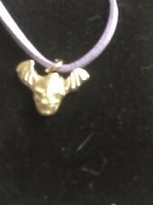 """Skull Bat TG329A Made In Fine English Pewter On 18"""" Purple Cord Necklace"""