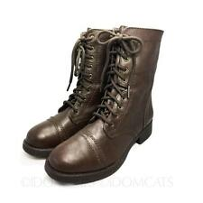 WOMENS LADIES BROWN WINTER FAUX LEATHER SHOES LACE UP ANKLE BOOTS SIZE 6