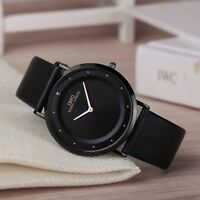 Classic Minimal Thin Watches Mens Swiss Quartz Luxury Leather Wristwatches IBSO