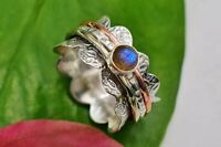 Labradorite Stone Solid 925 Sterling Silver Spinner Ring Meditation Ring Size s1