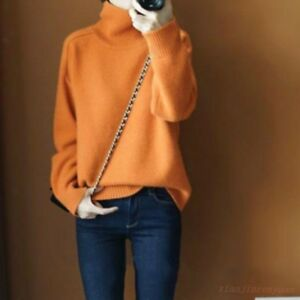 Women's Turtleneck Sweater Pullovers Knitted Casual Long Sleeve Loose Warm Tops
