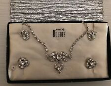 Vintage BOGOFF Jewelry Set Clear Rhinestone Necklace Screwback Earring