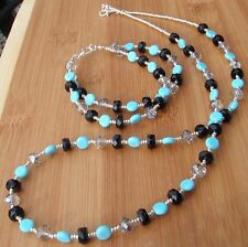 HDMD by Cyndi Necklace and Bracelet Set of Black, Turquoise, and Pale Gray Glass