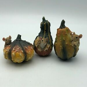 Lot Of 3 Mouse Gourd Figurines Thanksgiving Halloween Harvest Fall Autumn  A1