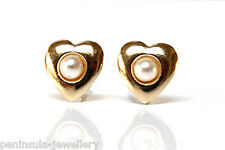 9ct Gold Pearl Heart Studs earrings Made in UK Gift Boxed