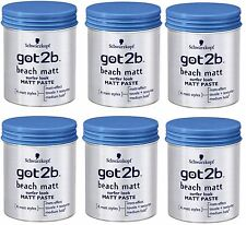6 X Schwarzkopf Got2b Beach Matt PASTE Surfer Look 100ml