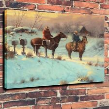 "Art Canvas Print, Oil Painting Western, Cowboy, Letter From Home A5933,16""x20"""