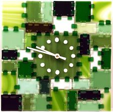 "Games of Colors: Fused Glass Wall Clock ""Rectangular Fantasy - Summer Forest"""