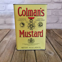 Vintage Colman's Mustard Tin 16 OZ LARGE All Metal England Full Container