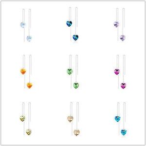 Austrian Crystal Ocean Heart Long Thread Line Chains Earrings Fashion Jewelry